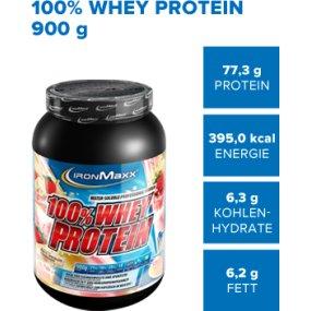 IronMaxx 100% Whey Protein – Eiweißpulver für Fitness-Shake – Wasserlösliches Proteinpulver mit Banane-Joghurt Geschmack – 1 x 900 g Dose